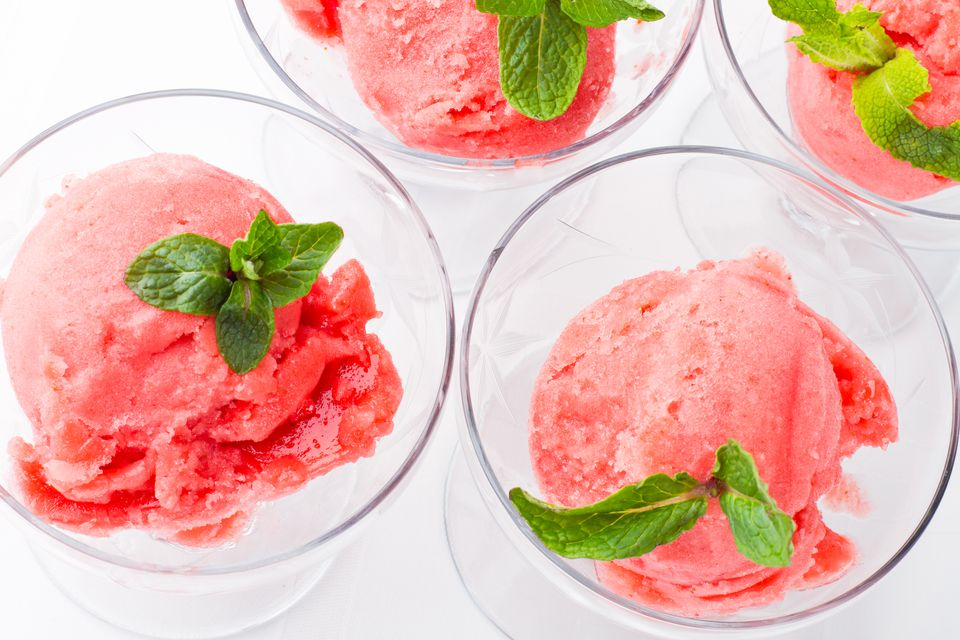 Strawberry Sorbet with Fresh Mint