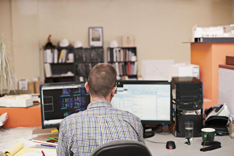 Man works at computer