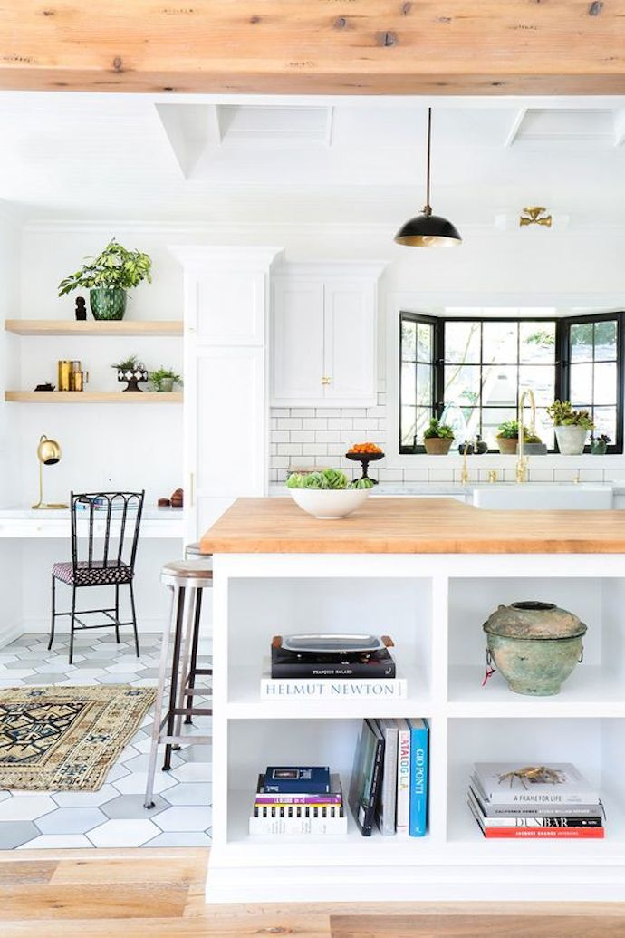 Incorporate Open Shelving for Cookbooks on the Island