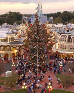 Giant Christmas Tree, Main Street USA, Magic Kingdom. Photo courtesy of Walt Disney World.