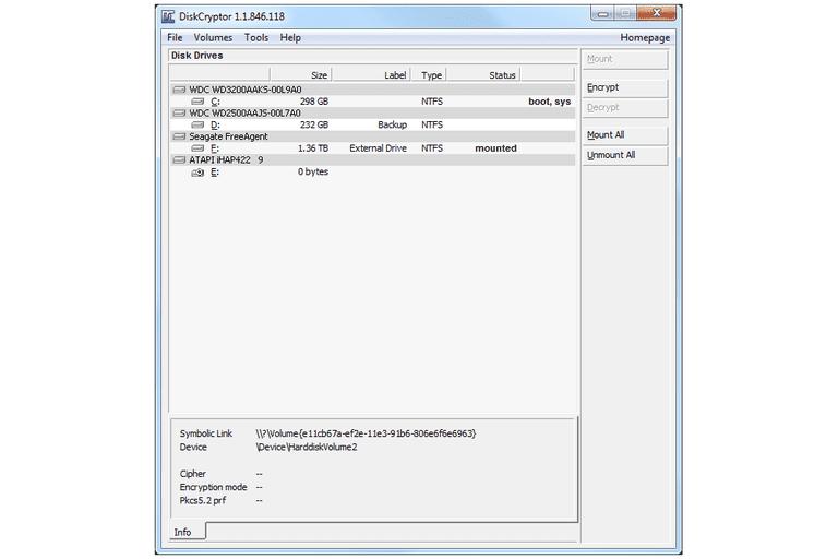 Screenshot of DiskCryptor v1.1.846.118 in Windows 7