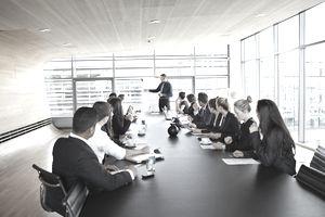 Big business presentation with flip board