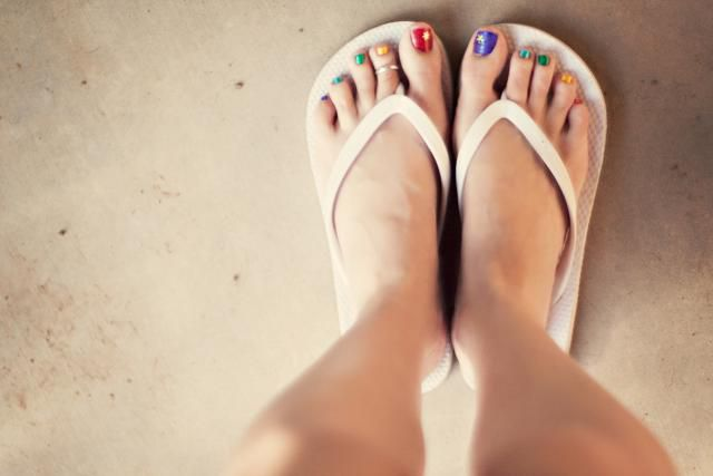 Painted toes and flip flops