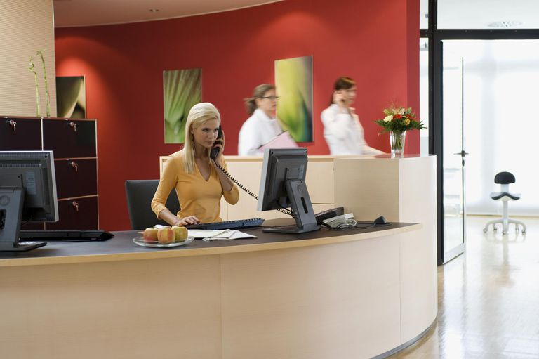 Receptionist working in doctor's office