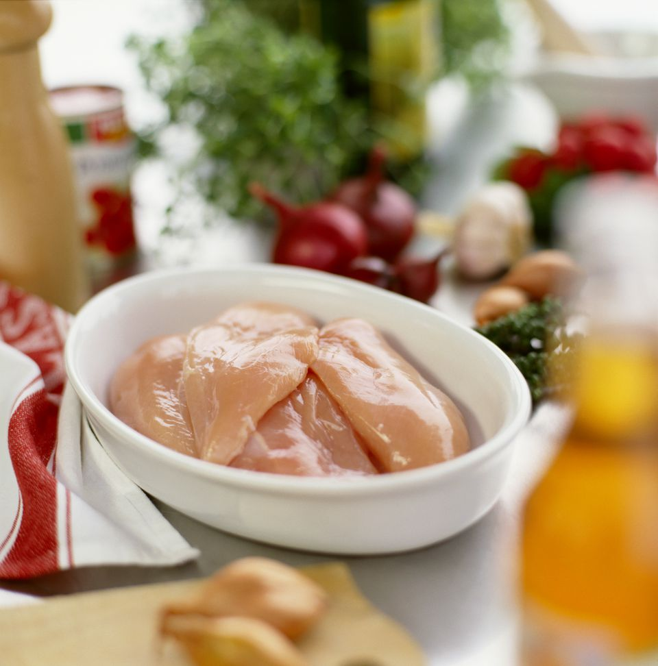 Several chicken fillets in a roasting dish