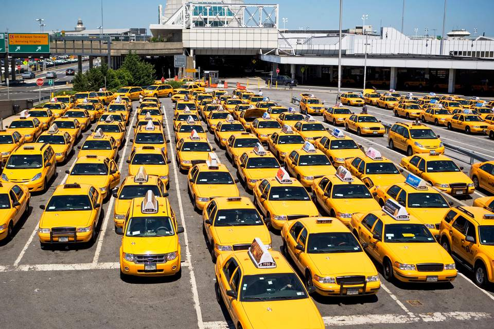 Yellow Taxicabs Parked at LaGuardia International Airport