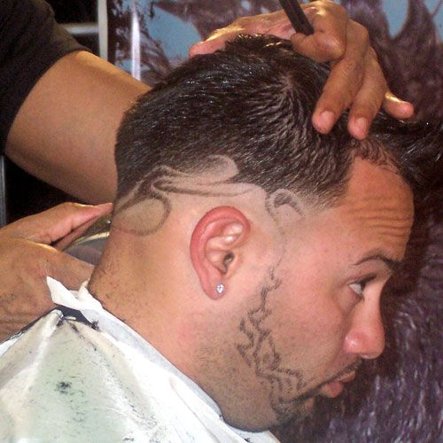 pictures of mens trendy design haircuts
