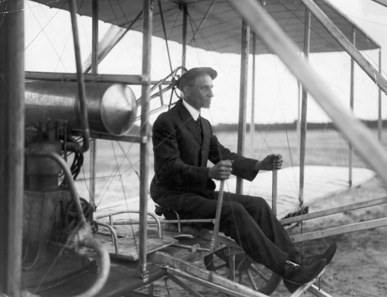 Wilbur Wright in His Airplane