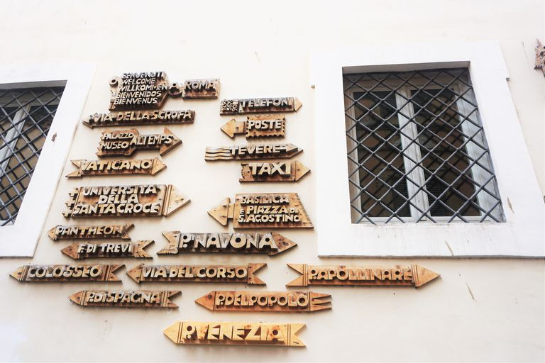 Directional signs on house in Italy