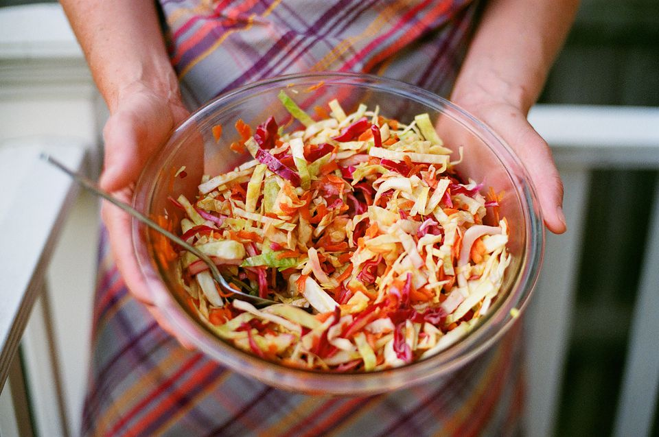 Vegan cole slaw with green and purple cabbage and carrots