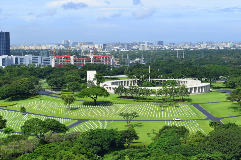 Aerial view of Manila American Cemetery, Philippines