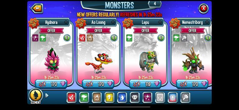Monster Legends elements