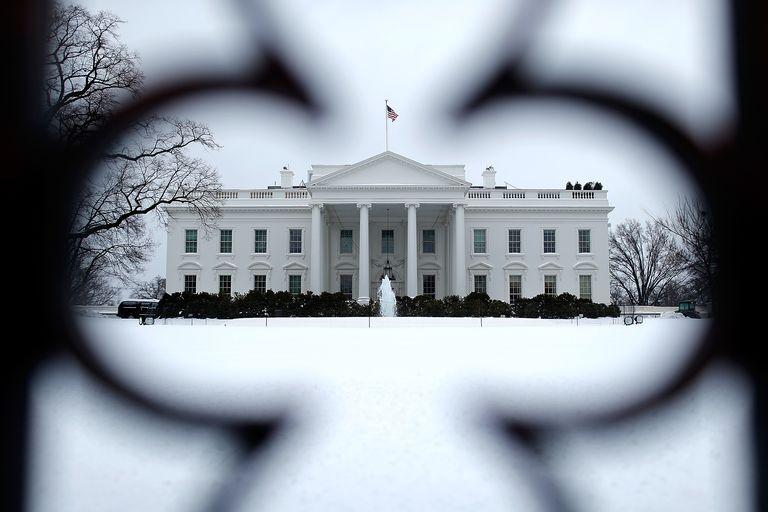 White House North Facade Seen Through Iron Fence