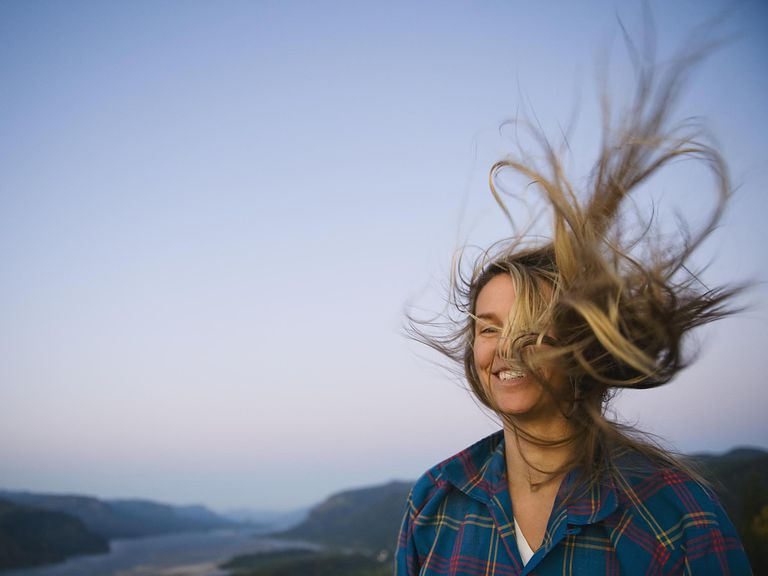 Woman's hair blowing in wind