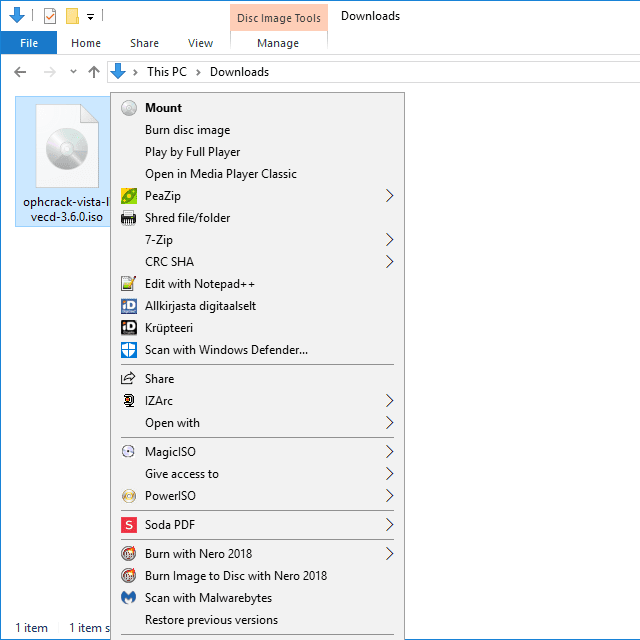 Screenshot of the mount ISO option in Windows 10