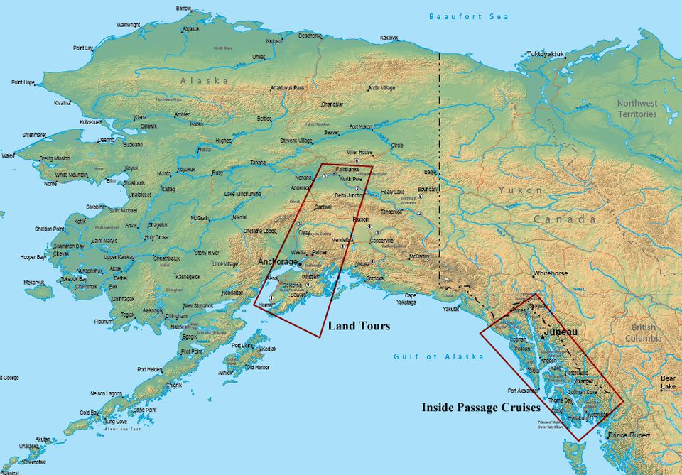 Map of Alaska Showing Popular Travel Regions - Land Tour and Inside Passage