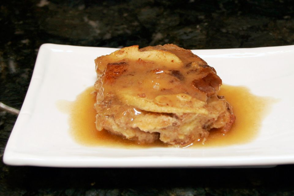 Apple Bread Pudding With Apple Brandy Sauce