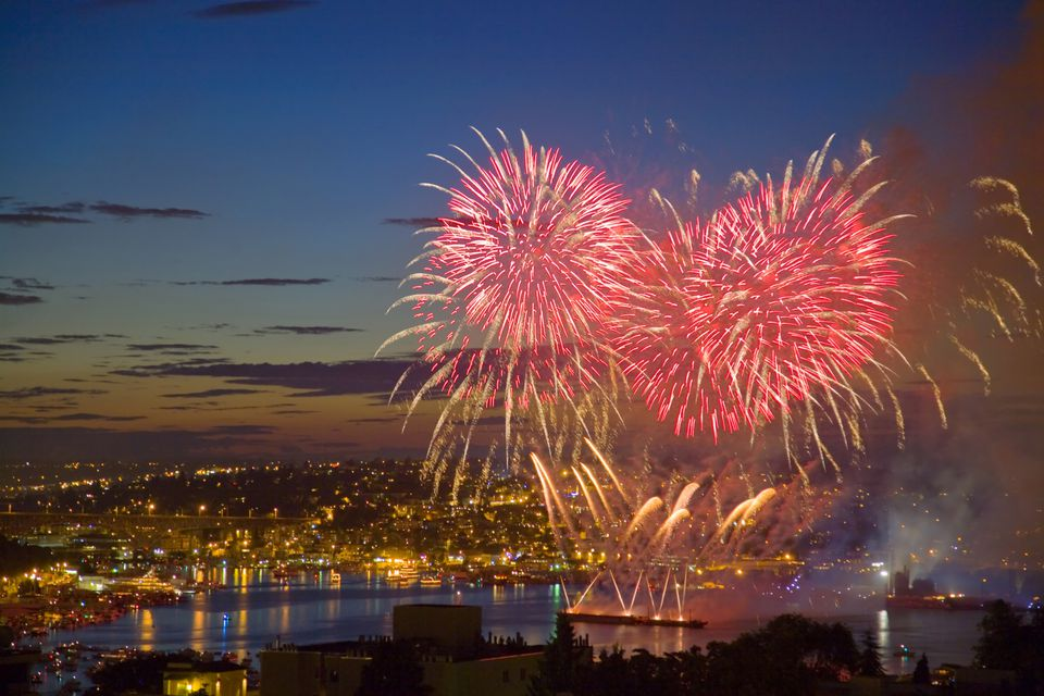 Fireworks Over Lake Union in Seattle