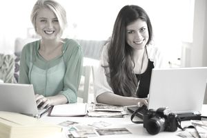 Woman working together at small business