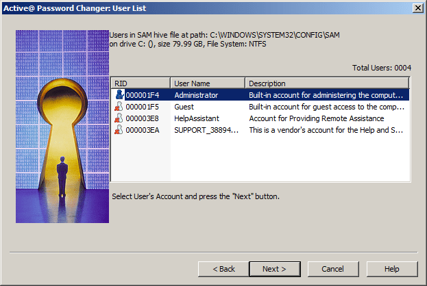 A screenshot of Active Password Changer Professional v5.0