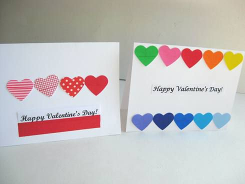colorful hearts valentine cards for kids - Homemade Valentine Cards For Kids