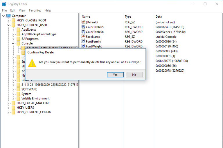 Screenshot showing how to delete a registry value in Windows 10