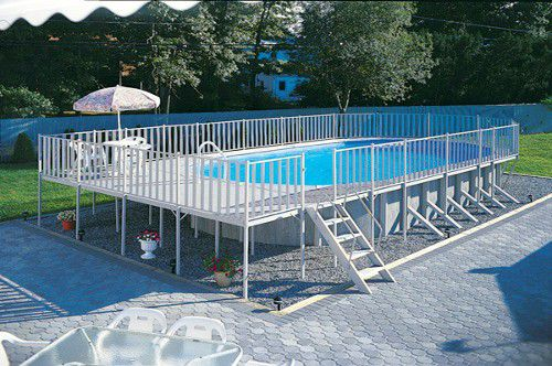 above ground doughboy swimming pool - Above Ground Pool Deck Off House