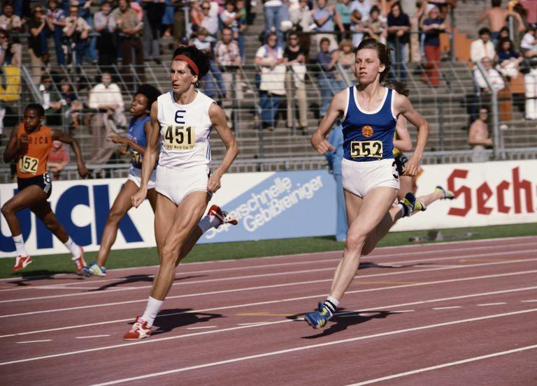 Irena Szewinska (left) and Marita Koch run in the 1977 IAAF World Cup 400-meter event. Szewinska, who won the race, set three 400-meter world records from 1974-76. Koch went on to set seven 400-meter world marks from 1978-85.