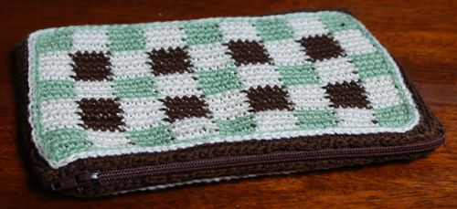 Checkered Crochet Pouch With Zipper