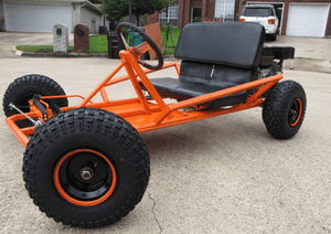 Picture of an orange 2 seat go-cart