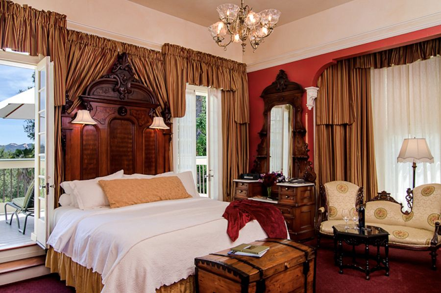 Guest room in Madrona Manor, a Victorian mansion hotel in Sonoma, California.