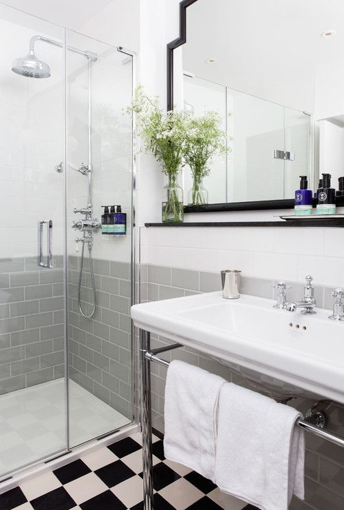 Pictures Of Black And White Bathrooms. Gray and White Bathroom With Checkerboard Flooring 17 Classic Bathrooms