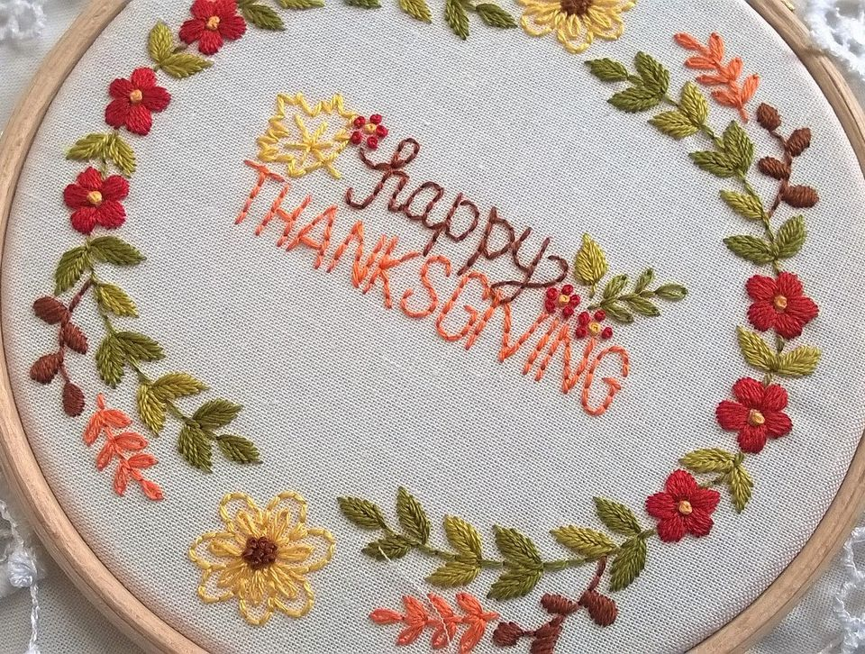 Happy Thanksgiving Embroidery Kit