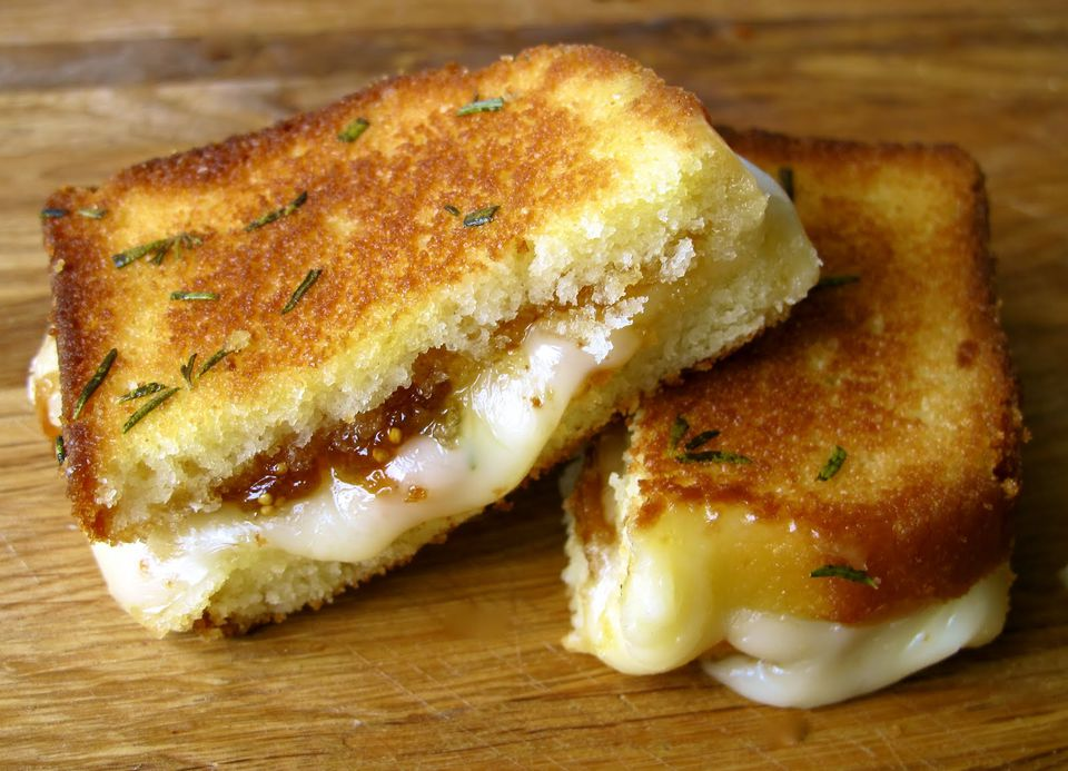 Brie, Fig Jam, and Poundcake Grilled Cheese with Rosemary Butter