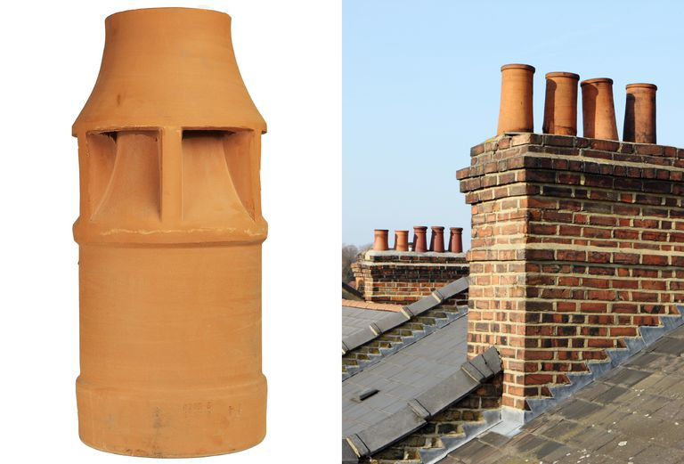 Two photos, detail of earthen chimney pot and rooftop chimneys with chimney pots