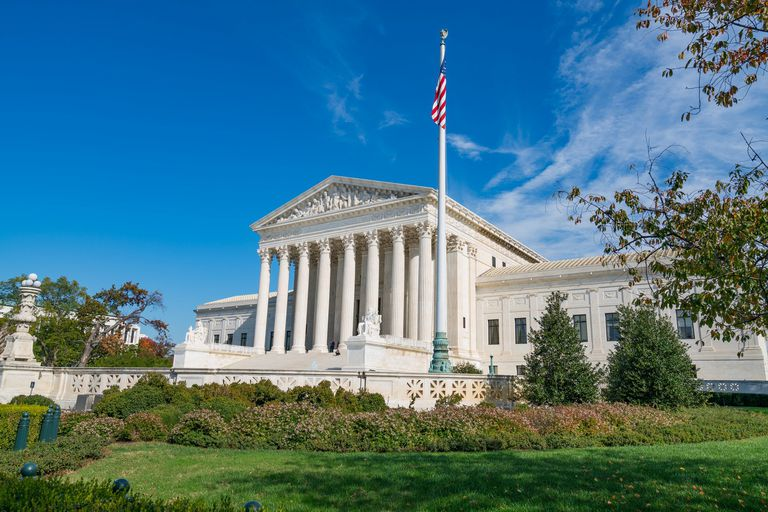 Color photo of the US Supreme Court building in Washington, D.C.
