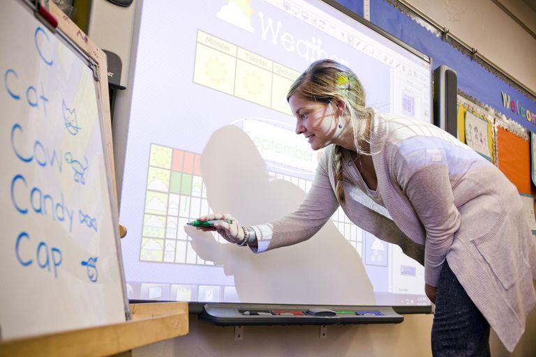 A teacher using a smart-board in her classroom