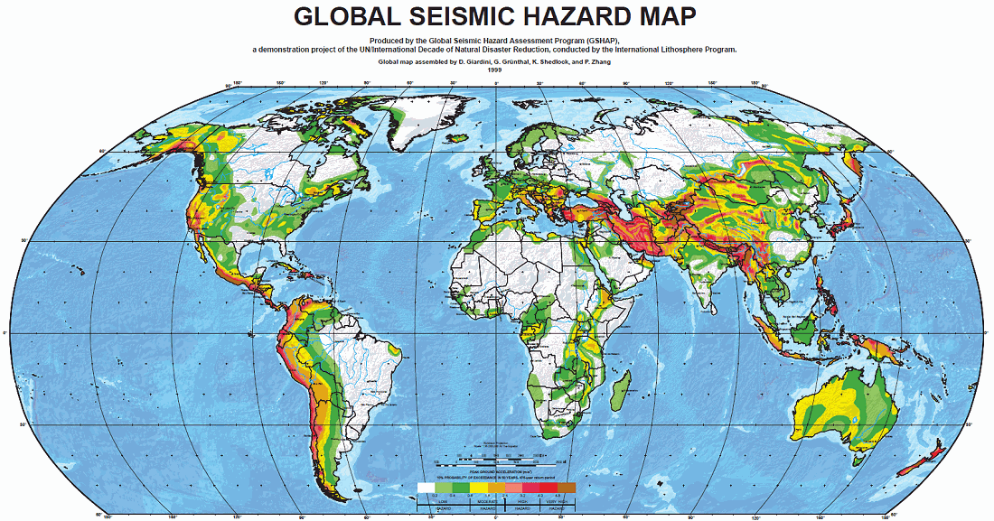 Major Earthquake Zones On Each Continent - World map program