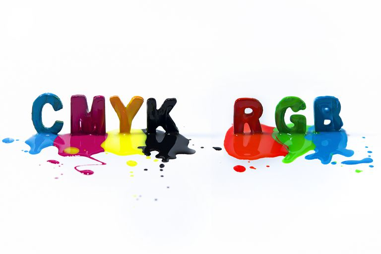 Multi-colored CMYK RGB capital letters