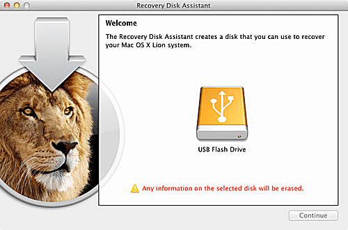 Using OS X Lion's Recovery Disk Assistant