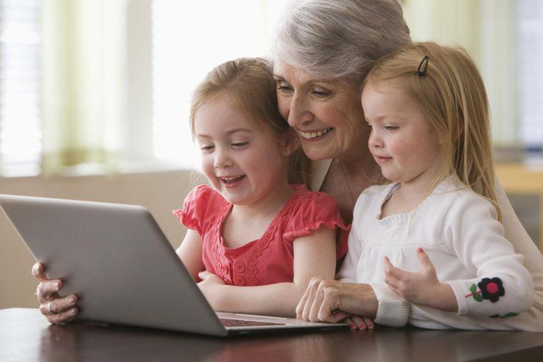 Caucasian grandmother and granddaughters u...