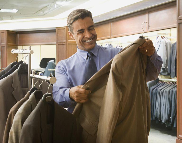 Hispanic businessman suit shopping