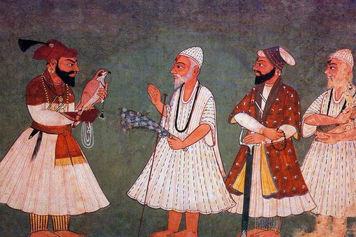 Guru Gobind Singh (with bird) encounters Guru Nanak Dev.