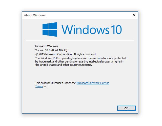 Screenshot of a Windows10 About Windows Dialog Box