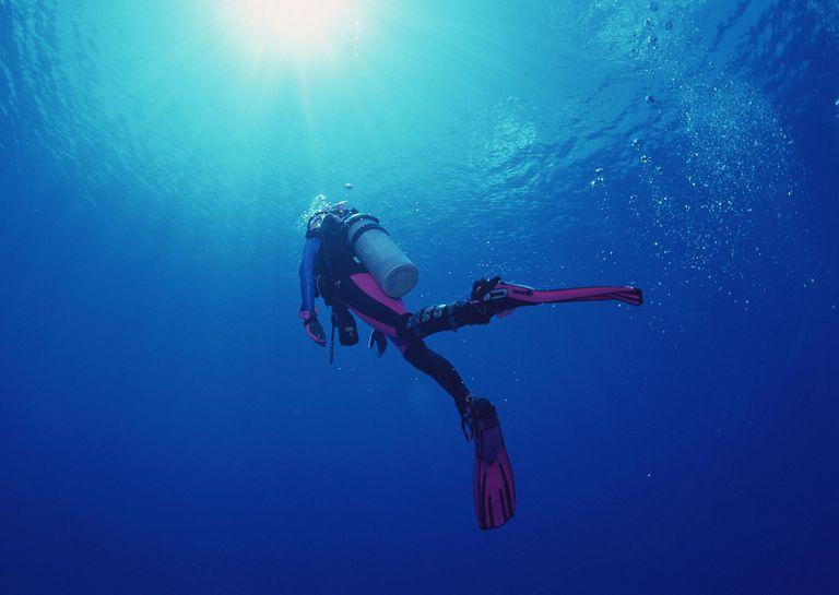 Scuba diver ascending to the surface.