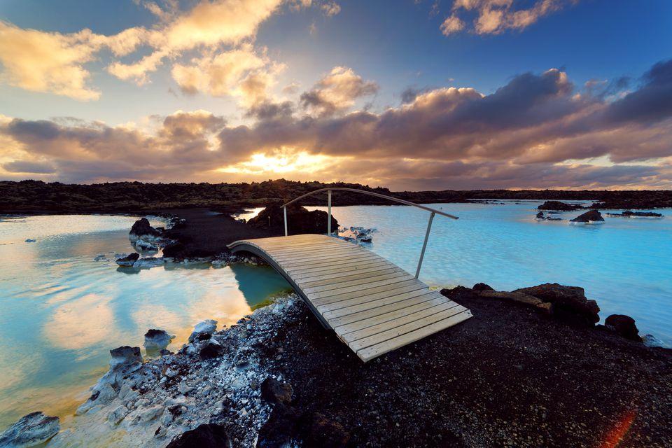 Blue Lagoon footbridge at sunset, Iceland