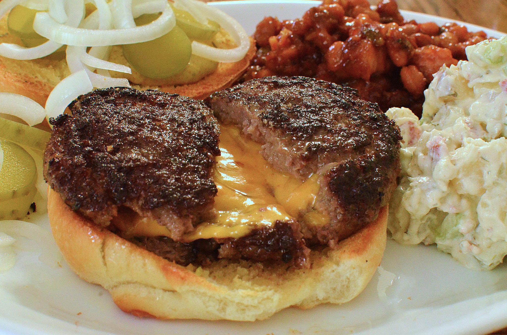 Bacon Double Cheese Stuffed Burgers Recipe