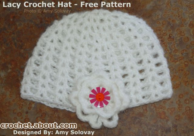 Easy lacy beanie hat free crochet pattern crocheted cloche hat embellished with a flower dt1010fo