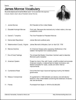 James Monroe Vocabulary Study Sheet