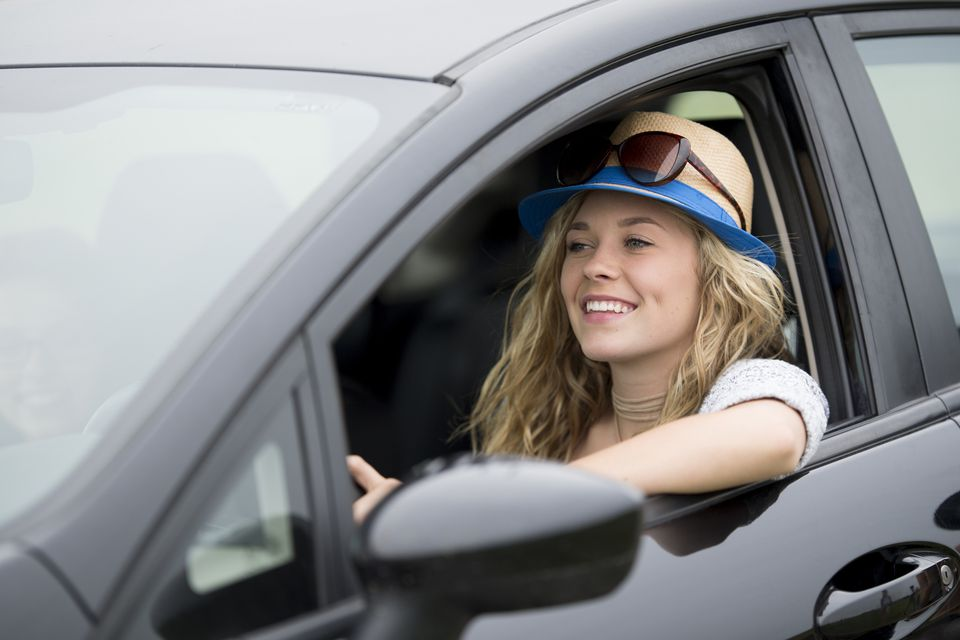 young college girl driving